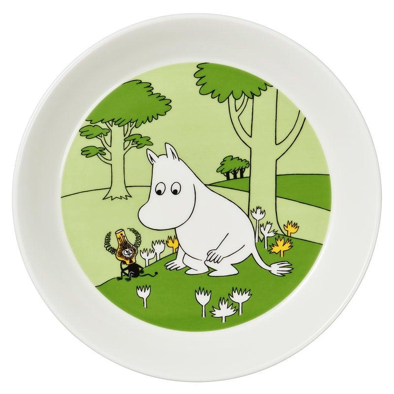 Arabia Moomin plate, Moomintroll, grass green