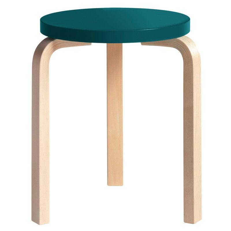 Artek Aalto stool 60, petrol - birch