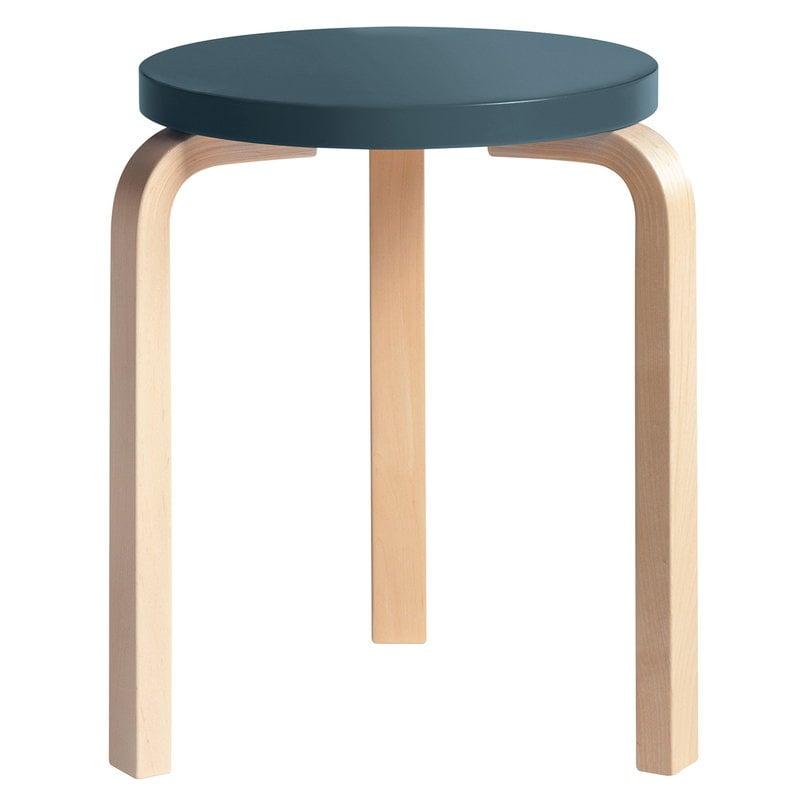 Artek Aalto stool 60, blue - birch