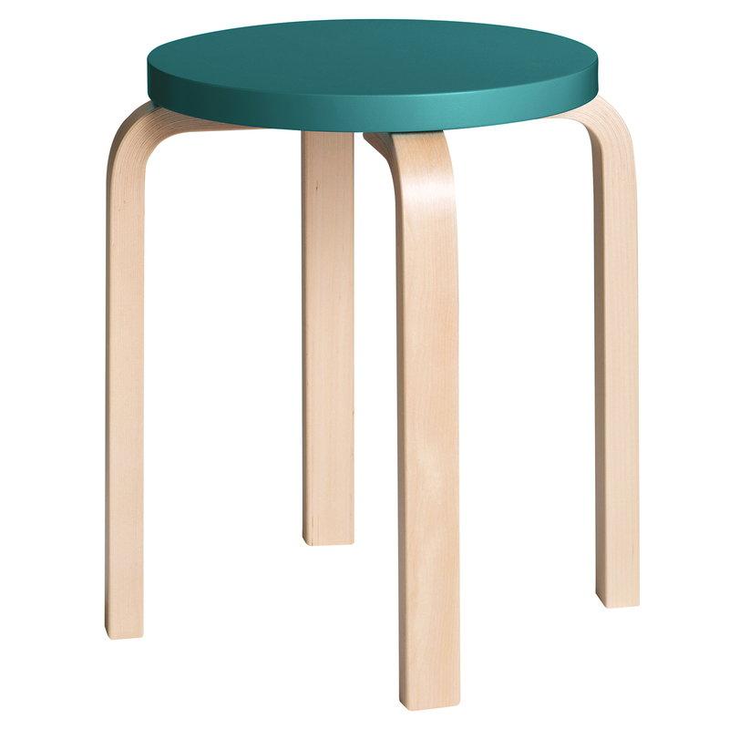 Artek Aalto stool E60, petrol - birch