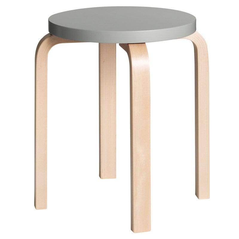 Artek Aalto stool E60, grey - birch