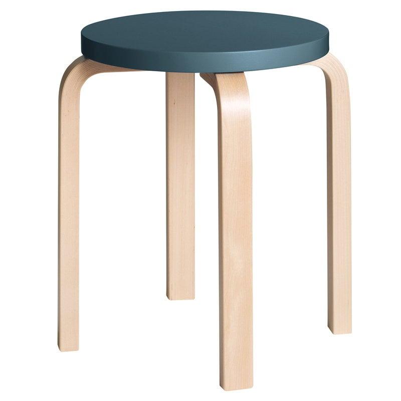 Artek Aalto stool E60, blue - birch