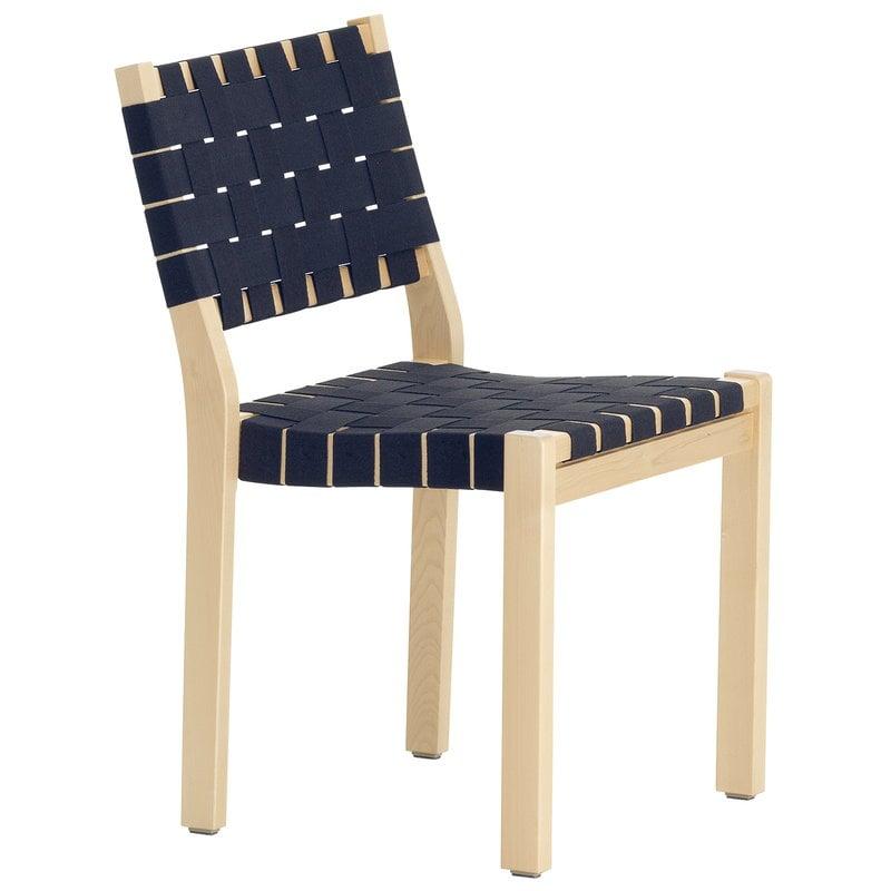 Artek Aalto chair 611, birch - black/blue webbing