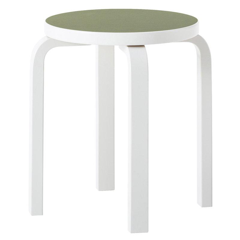 Artek Aalto stool E60, stone white - olive linoleum