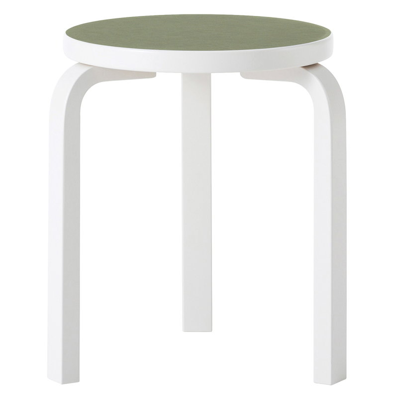Artek Aalto stool 60, stone white - olive linoleum