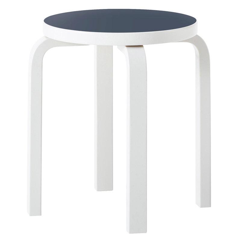Artek Aalto stool E60, stone white - blue linoleum