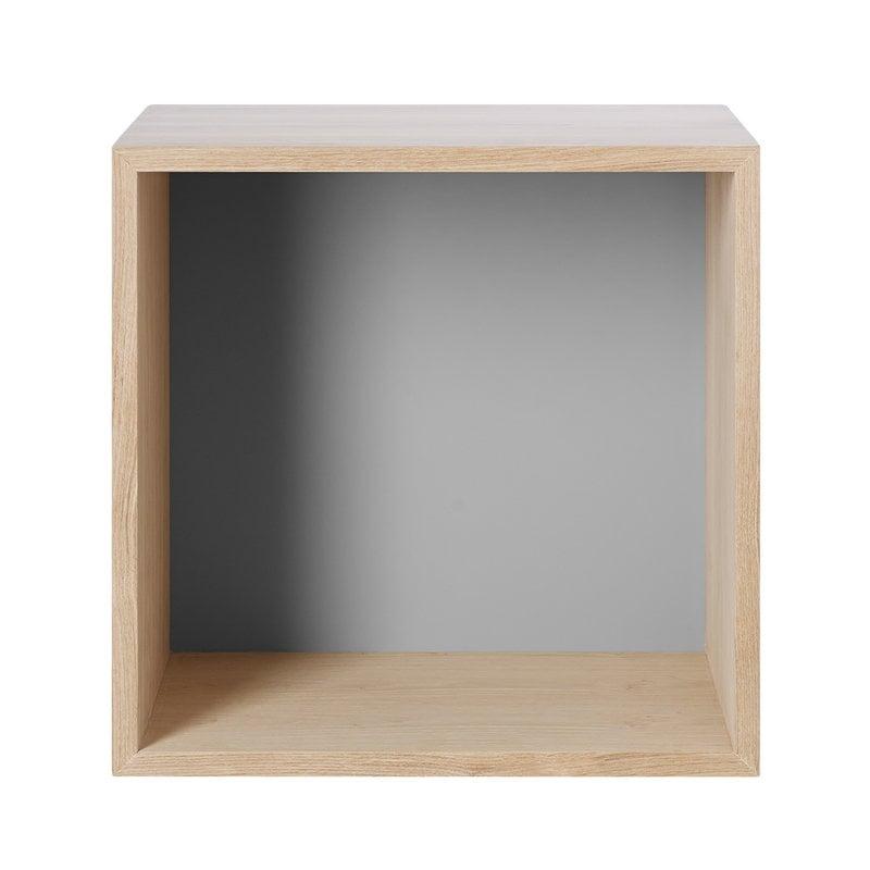 Muuto Stacked 2.0 shelf module w/ background, medium, oak/light grey