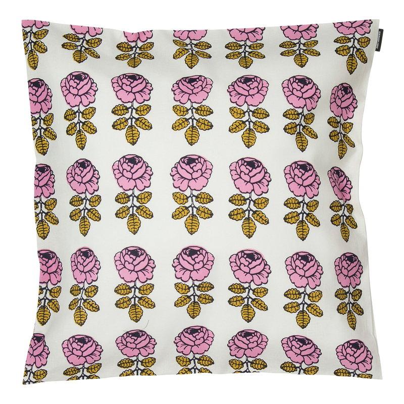 Marimekko Vihkiruusu cushion cover 45 x 45 cm, off white - pink - dark blu