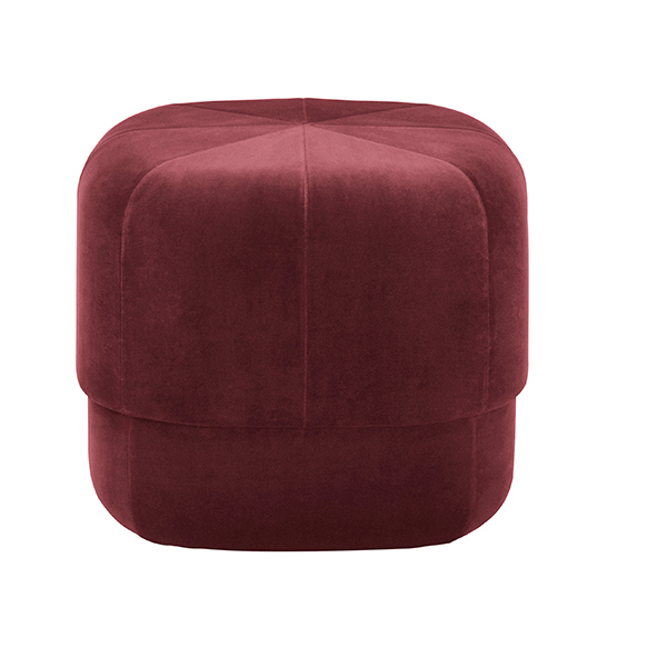 Normann Copenhagen Circus pouf, small, dark red velour
