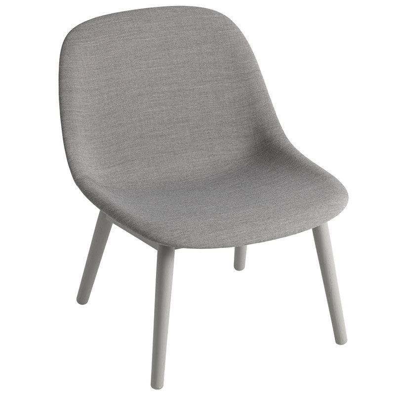 Muuto Fiber lounge chair, wood base, Remix 133 - grey