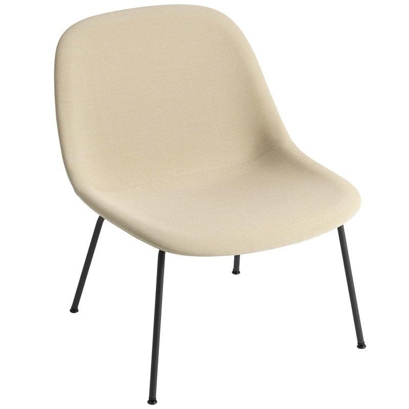 Muuto Poltrona Fiber, gambe in tubolare, beige - nero