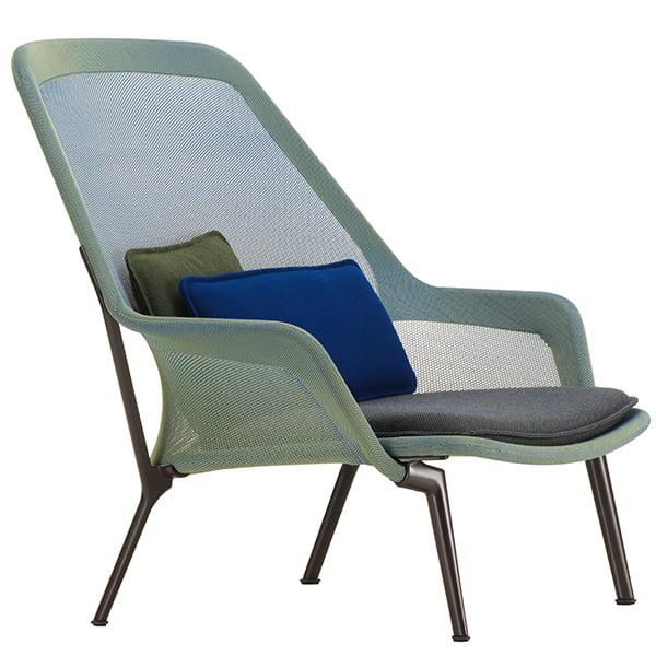 Vitra Slow Chair, sininen/vihreä - suklaanruskea