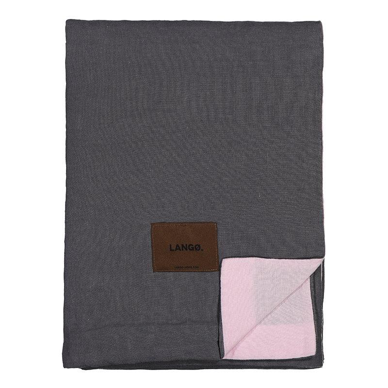 Langø Duvet cover, linen, dark grey - pink