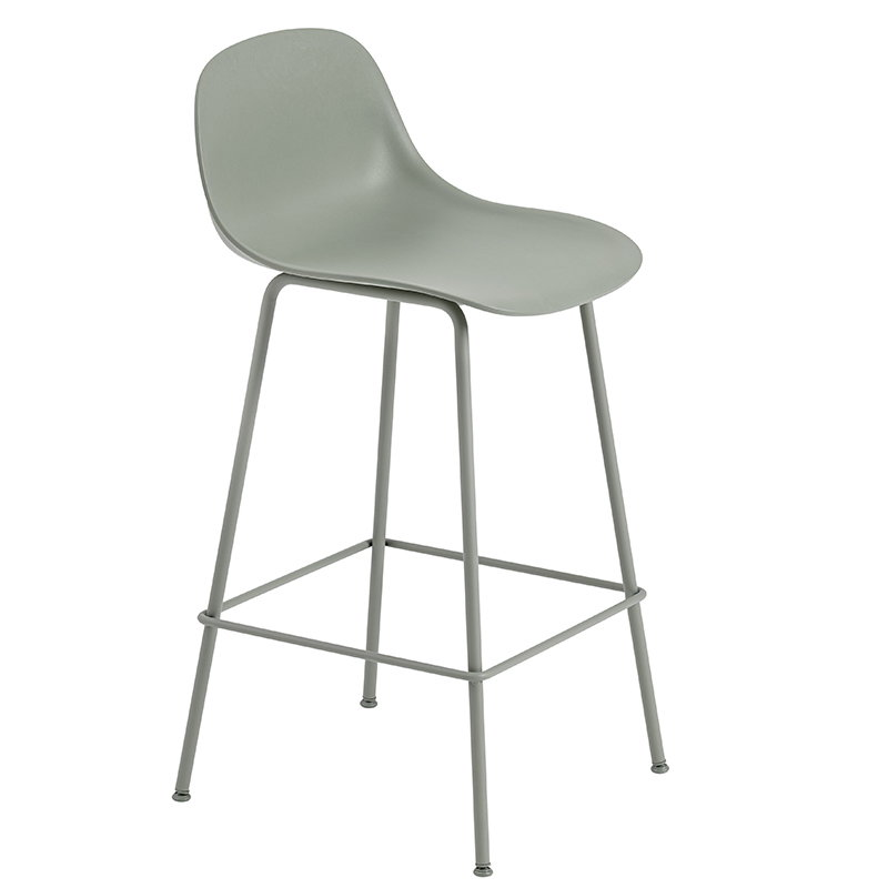 Muuto Fiber bar stool with backrest, tube base, dusty green