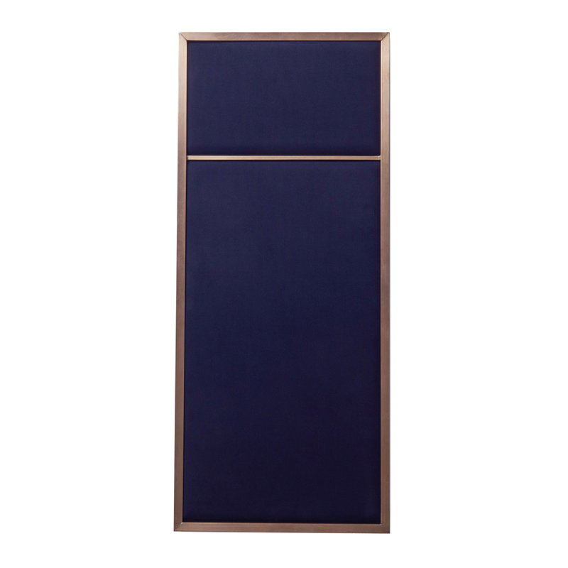 PLEASE WAIT to be SEATED Nouveau Pin board, small, brass - blue