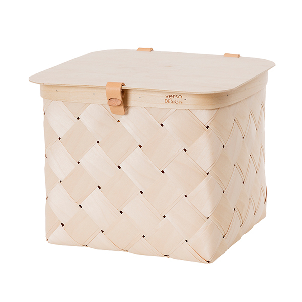 Verso Design Lastu birch basket with lid, M