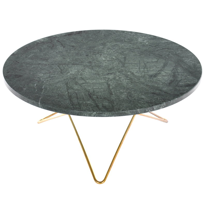 OX Denmarq O table, brass - green marble