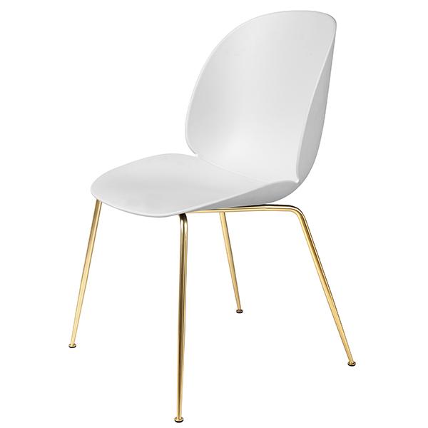 Gubi Beetle tuoli, messinki - valkoinen