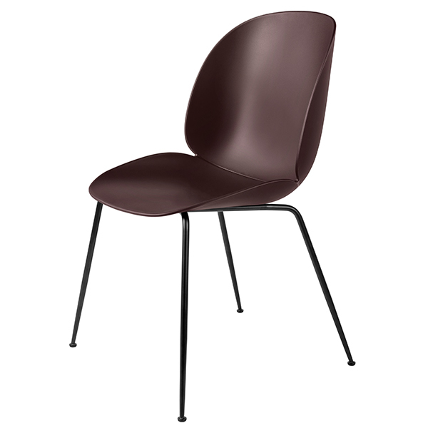 Gubi Beetle chair, black steel - dark pink