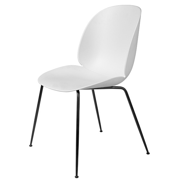 Gubi Beetle chair, black steel - white