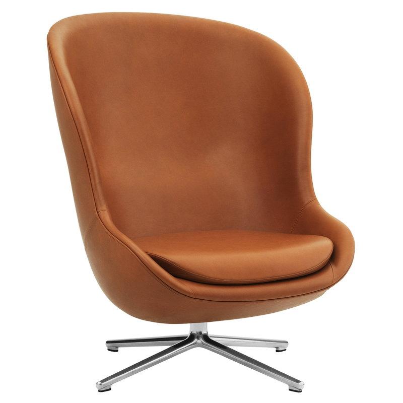 Normann Copenhagen Hyg lounge chair high, swivel, Ultra Leather 41574