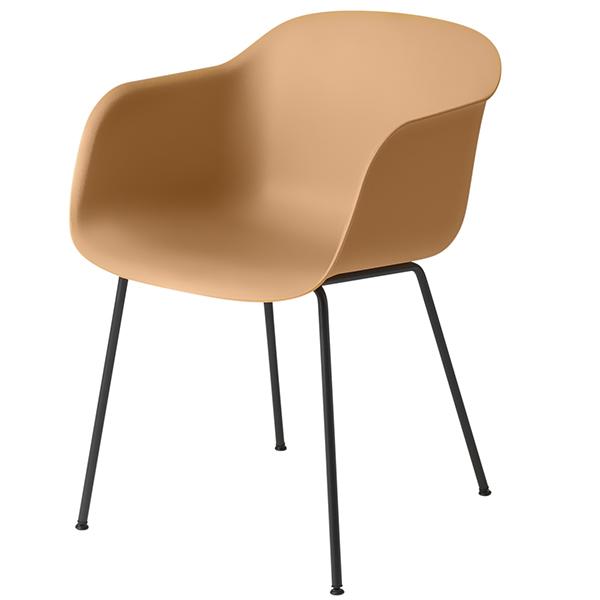 Muuto Fiber tuoli käsinojilla, putkijalat, okra/musta