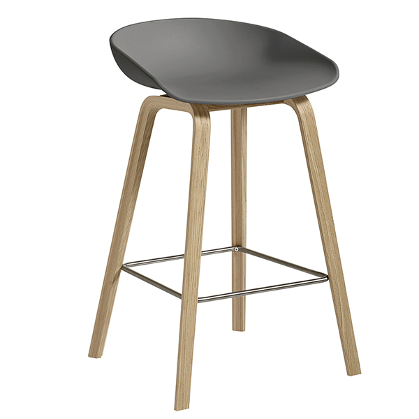 Hay About A Stool AAS32, grigio - rovere laccato opaco, 64 cm