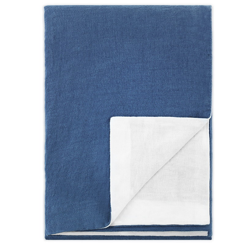 Langø Duvet cover, linen, denim - white
