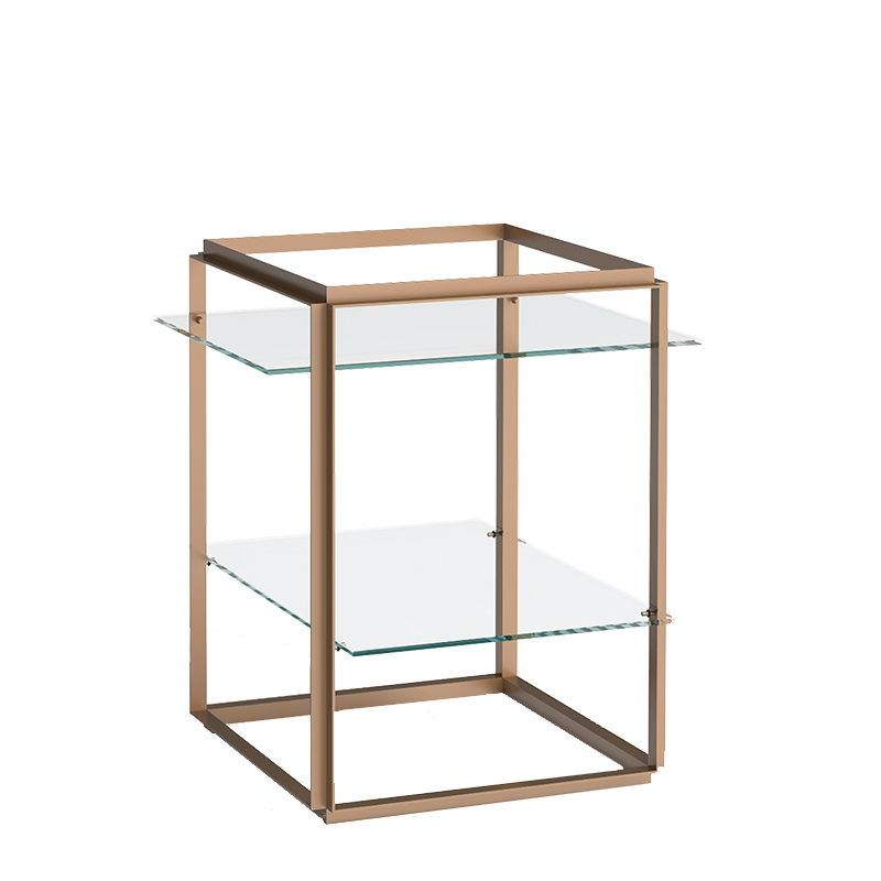 New Works Florence Side Table, Gold   Clear Glass