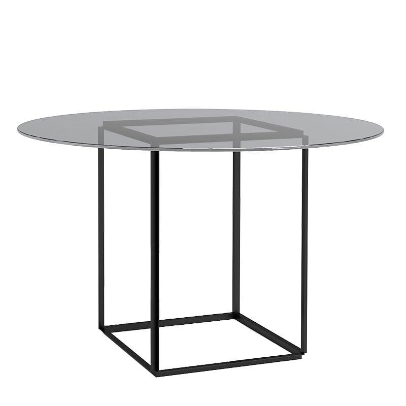 New Works Florence ruokapöytä, musta - savustettu lasi