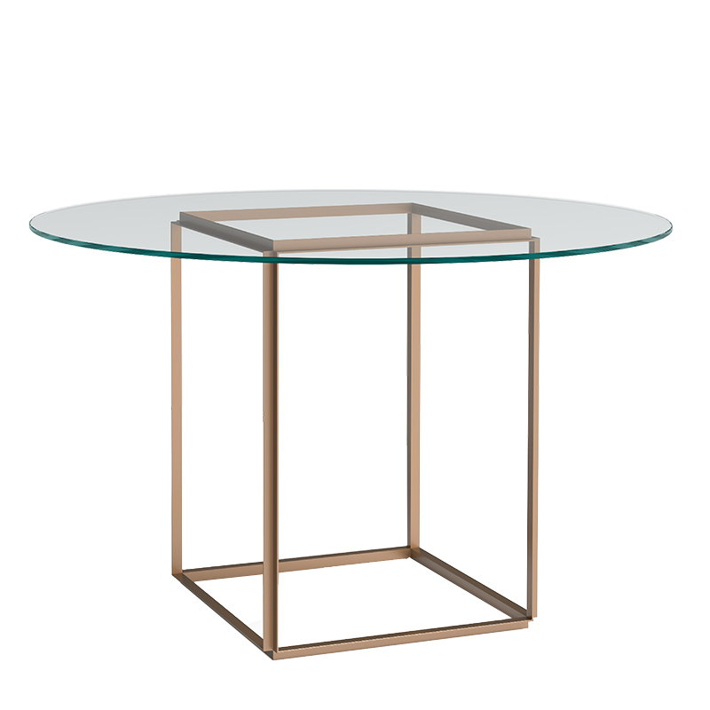 Florence dining table, gold - clear glass