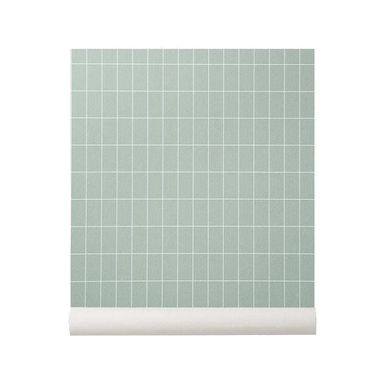 Ferm living carta da parati grid verde finnish design shop for Carta parati verde