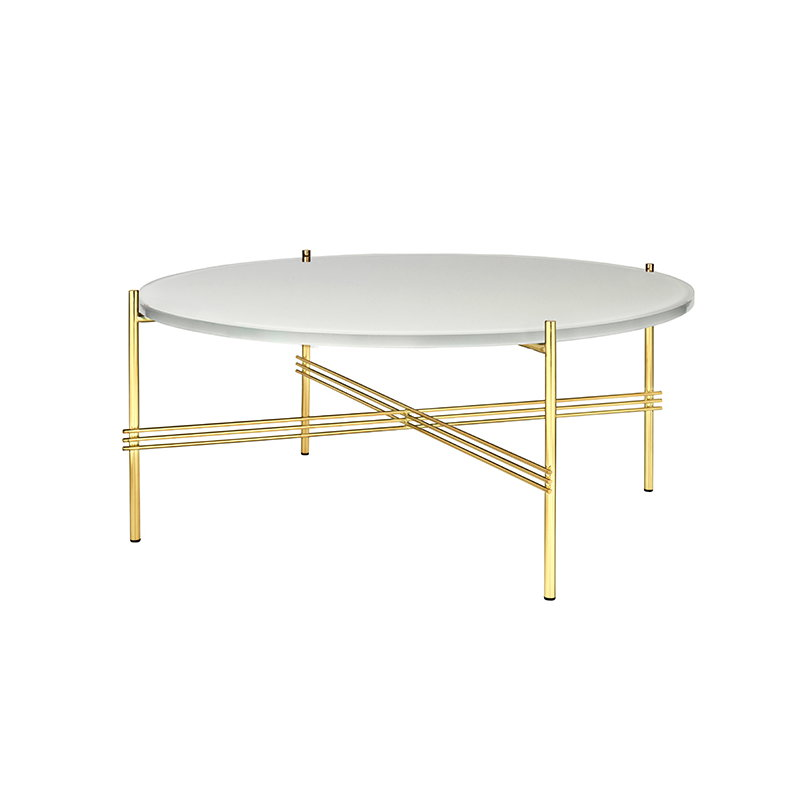 Gubi ts coffee table 80 cm brass white glass finnish for Coffee table 80 x 50