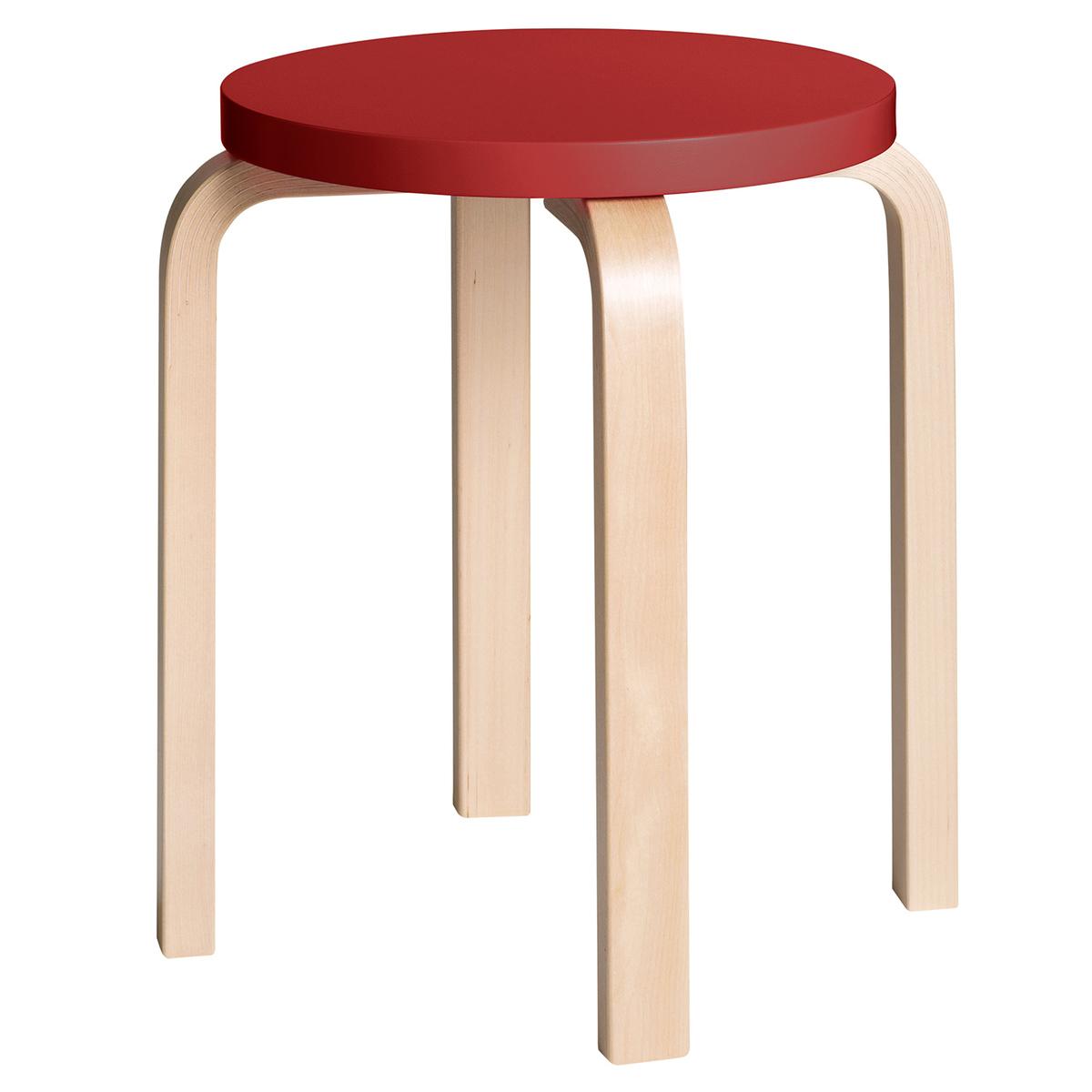 Artek Aalto jakkara E60, punainen - koivu